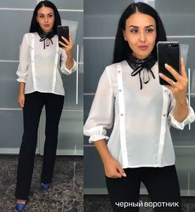 Блуза белая для офиса У8217