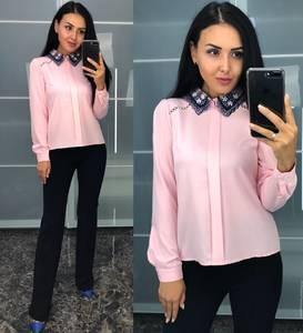 Блуза розовая с длинным рукавом У8239