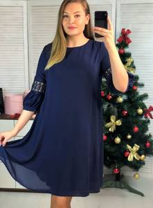 Платье короткое нарядное синее Ф9697