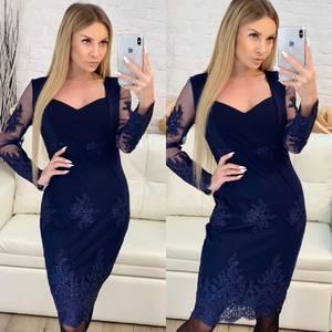 Платье короткое вечернее синее Х3359