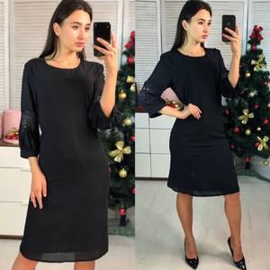 Платье короткое нарядное с рукавом 3/4 Ф9700