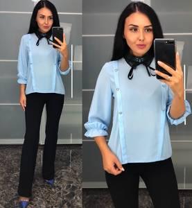 Блуза голубая для офиса У8219