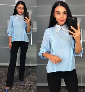 Блуза голубая для офиса У8221