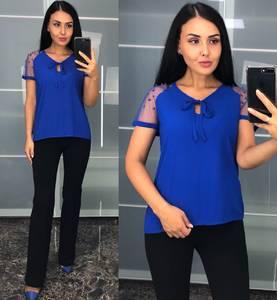 Блуза с коротким рукавом синяя У8223