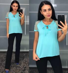 Блуза с коротким рукавом голубая У8224