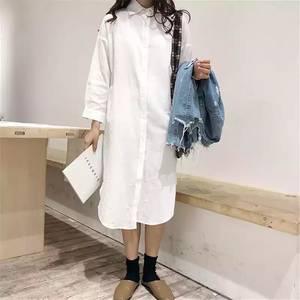Платье-рубашка короткое с длинным рукавом А35325