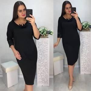Платье короткое нарядное черное Х1031