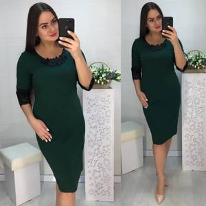 Платье короткое нарядное зеленое Х1032
