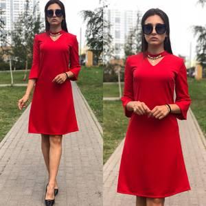 Платье короткое однотонное красное У9811