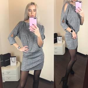 Платье короткое с рукавом 3/4 однотонное Ф4801