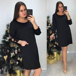 Платье короткое нарядное черное Х1035