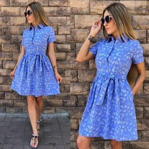 Платье короткое с принтом летнее У8861