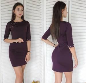 Платье короткое однотонное облегающее У9413