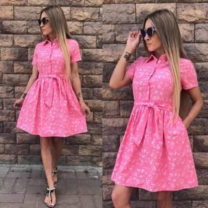 Платье короткое с принтом летнее У8862