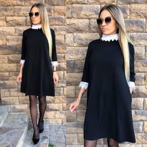 Платье короткое классическое черное У8865