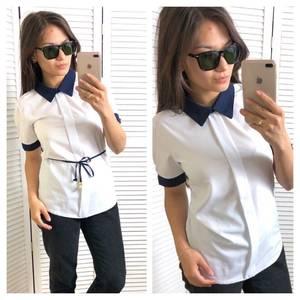 Блуза белая с коротким рукавом Т4320