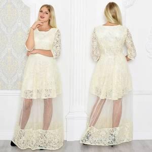 Платье длинное бежевое нарядное Т0933