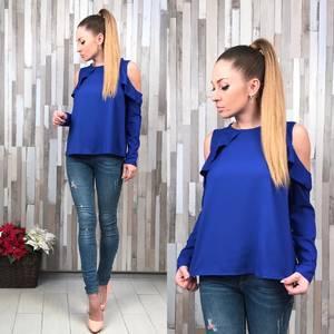 Блуза синяя с длинным рукавом Р3781