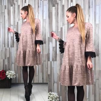 Платье короткое деловое однотонное Р2042