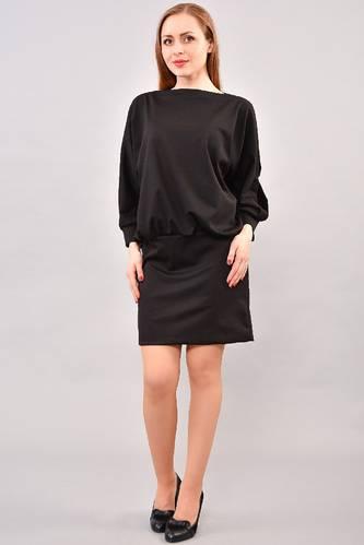 Платье короткое с длинным рукавом черное И3234