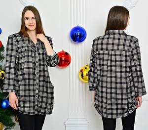 Рубашка удлиненная в клетку П7605