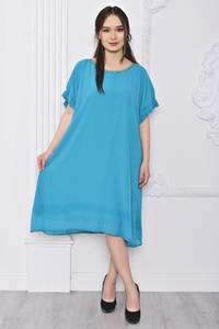 Платье длинное офисное голубое Т0360