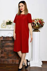 Платье длинное красное однотонное Р6343
