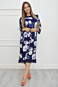 Платье длинное с принтом офисное Т4065