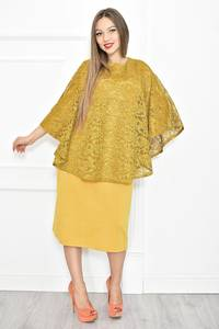Платье короткое желтое с кружевом Т6790