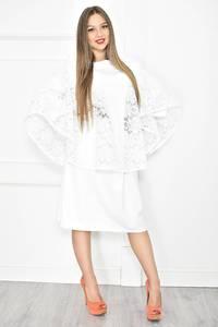 Платье короткое белое с кружевом Т6791