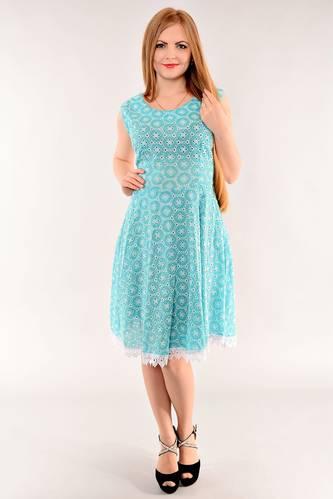 Платье длинное с коротким рукавом голубое И1404
