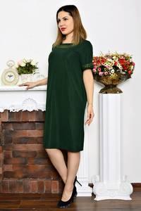 Платье длинное деловое зеленое Р6351