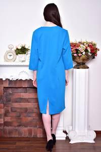 Платье длинное зимнее голубое Р8729