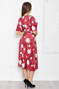 Платье длинное красное с принтом Т1921