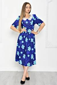 Платье длинное синее с принтом Т1922
