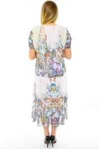 Платье длинное с коротким рукавом белое Н0144