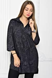 Рубашка черная с принтом Т1788