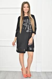 Платье короткое с принтом черное Т7397