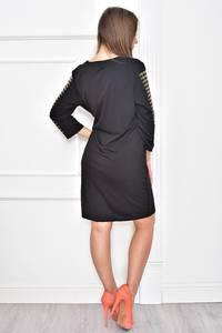 Платье короткое с принтом черное Т7398