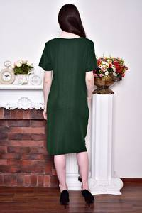 Платье длинное зимнее зеленое Р8742