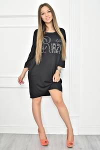 Платье короткое с принтом черное Т7399