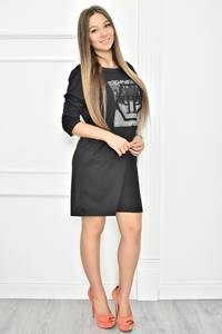 Платье короткое с принтом черное Т7400