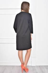Платье короткое с принтом черное Т7401