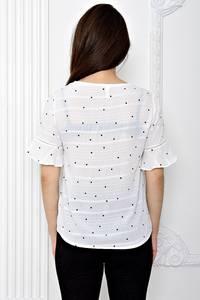 Блуза белая в горошек с коротким рукавом Т0609