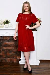 Платье длинное офисное красное Р7256