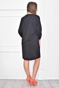 Платье короткое с принтом черное Т7402