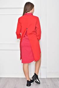 Платье Двойка короткое современное красное Ф0214