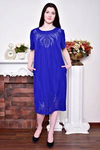 Платье длинное вечернее синее Р8749