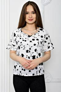 Блуза белая с цветочным принтом Т0612
