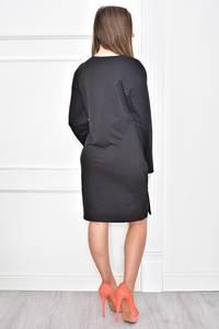 Платье короткое с принтом черное Т7404